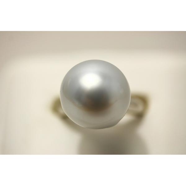 南洋白蝶真珠パールリング【指輪】 14mm シルバーカラー シルバー製