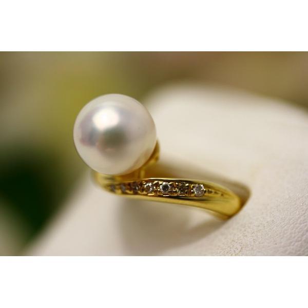 あこや真珠パールリング【指輪】 9.0-9.5mm ホワイトピンクカラー K18製/D0.14ct