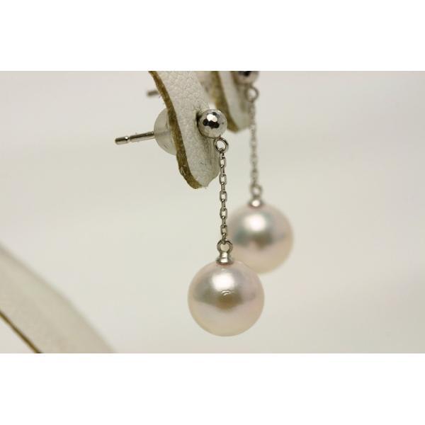 アコヤ真珠パールチェーンブラピアス 8.0-8.5mm ホワイトピンクカラー K18WG製