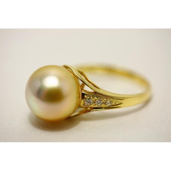 南洋白蝶真珠パールリング【指輪】 12mm ナチュラルピンクゴールドカラー K18製/D0.08ct