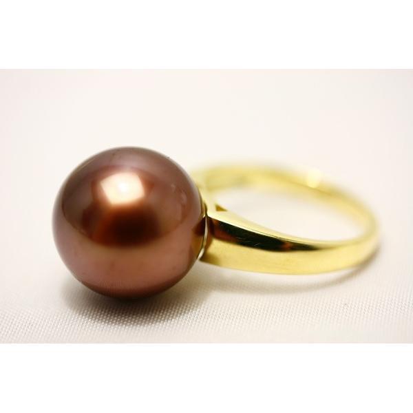 タヒチ黒蝶真珠パールリング【指輪】 14mm チョコレートカラー K18製