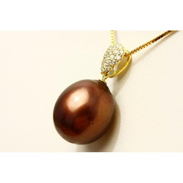 タヒチ黒蝶真珠パールペンダントトップ 14mmUP チョコレートカラー K18製/D0.23ct