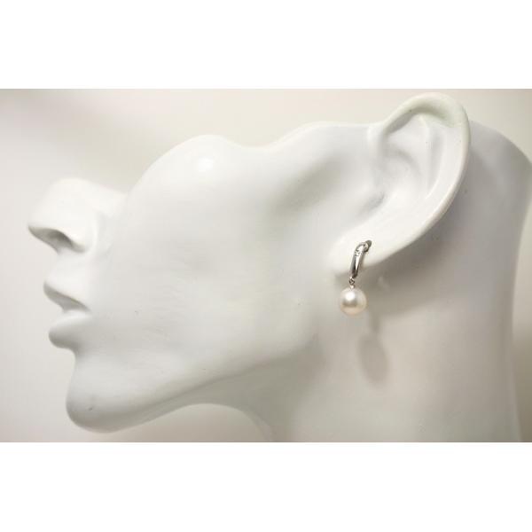 アコヤ真珠パールデザインブラピアス 8.0-8.5mm ホワイトピンクカラー K18WG製/D0.02ct