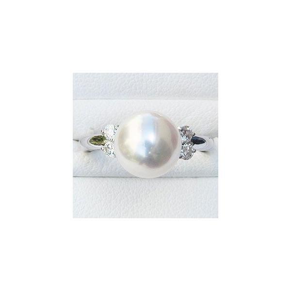 母の日 2019 ブライダルリング 婚約指輪 パールリング 真珠指輪 リング 指輪 オーロラ花珠真珠 本真珠 大珠9mm 純プラチナ PT999 ダイヤモンド 0.20ct 冠婚葬祭