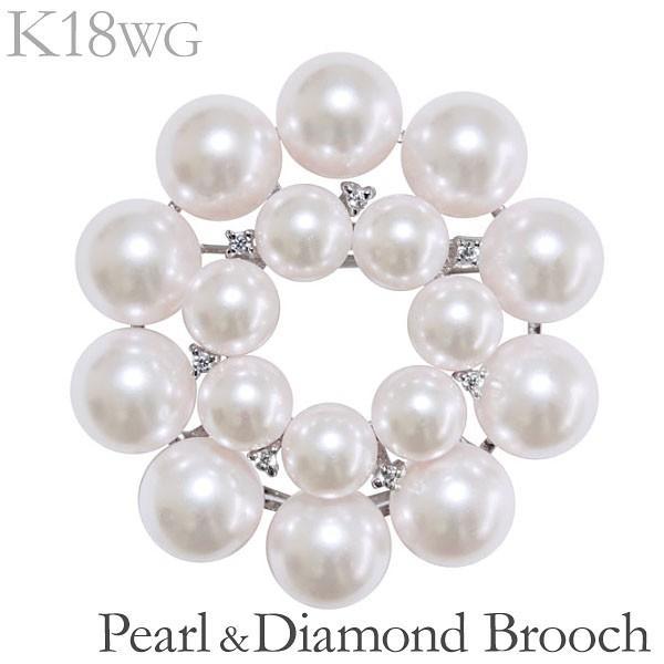 卒業式 ブローチ 花 ペンダント兼用 あこや本真珠 0.07ct ダイヤモンド k18ホワイトゴールド レディース アクセサリー プレゼント ギフト 人気
