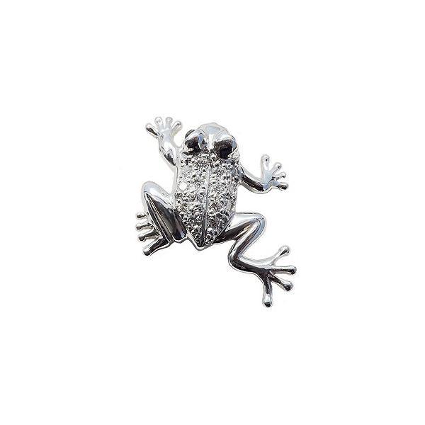 入学 入園 ブローチ タイニーピン ピンブローチ ピンズ ラペルピン ダイヤモンド サファイア カエルモチーフ かえる フロッグ ホワイトゴールド
