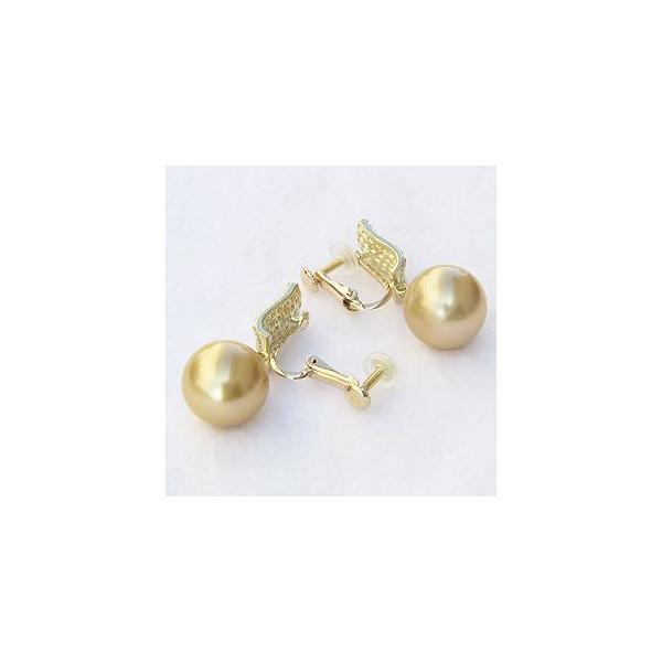 入学 入園 イヤリング パール 南洋真珠パール K18ゴールドイヤリング ダイヤモンド 冠婚葬祭