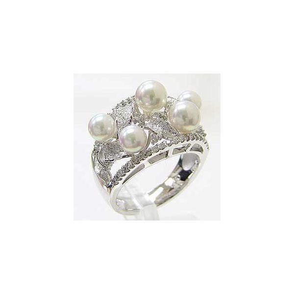 入学 入園 リング パール 指輪 あこや真珠パール PT900プラチナリング ダイヤモンド 冠婚葬祭