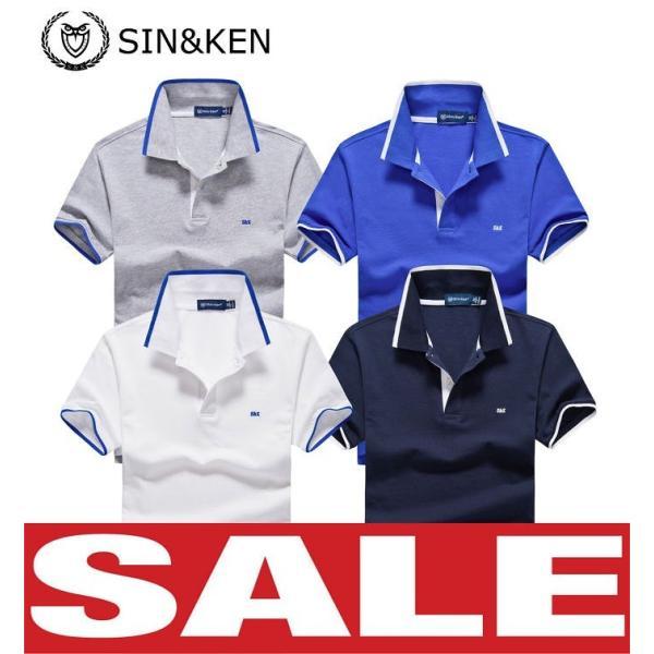 SIN&KEN ゴルフシャツ メンズ ポロシャツ ゴルフウェア 服 半袖ポロ カジュアル poro 鹿の子 刺繍 新作 ブランド go-spo701