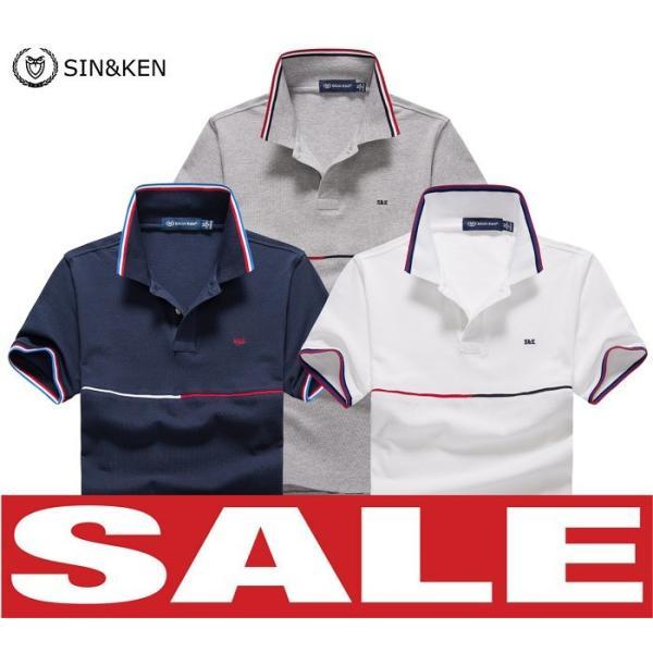 SIN&KEN ゴルフシャツ メンズ ポロシャツ ゴルフウェア 服 半袖ポロ カジュアル poro 鹿の子 刺繍 新作 ブランド go-spo705