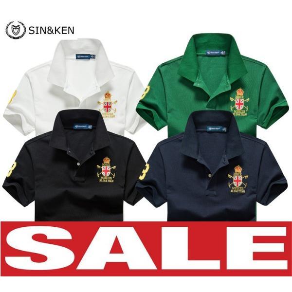 SIN&KEN ゴルフシャツ メンズ ポロシャツ ゴルフウェア 服 半袖ポロ カジュアル poro 鹿の子 刺繍 新作 ブランド go-spo708