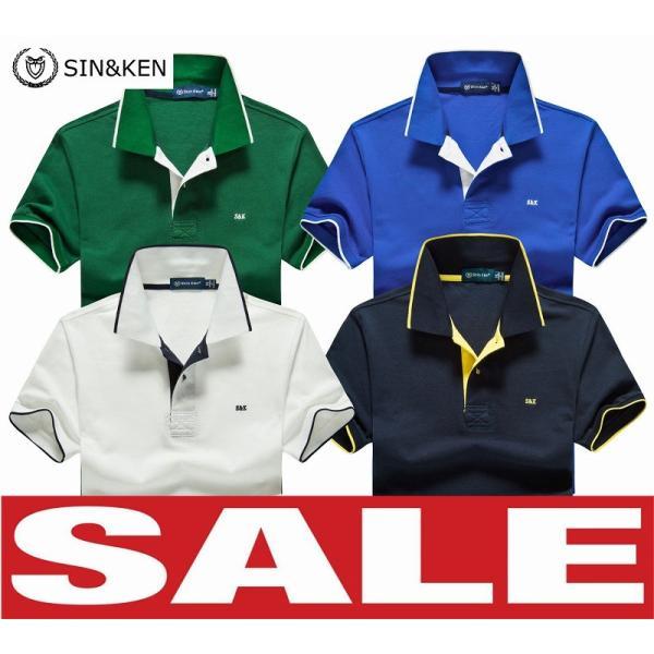 SIN&KEN ゴルフシャツ メンズ ポロシャツ ゴルフウェア 服 半袖ポロ カジュアル poro 鹿の子 刺繍 新作 ブランド go-spo710