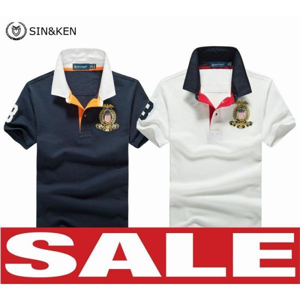 SIN&KEN ゴルフシャツ メンズ ポロシャツ ゴルフウェア 服 半袖ポロ カジュアル poro 鹿の子 刺繍 新作 ブランド go-spo711