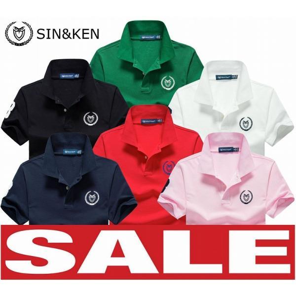 SIN&KEN ゴルフシャツ メンズ ポロシャツ ゴルフウェア 服 半袖ポロ カジュアル poro 鹿の子 刺繍 新作 ブランド go-spo712