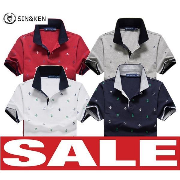 SIN&KEN ゴルフシャツ メンズ ポロシャツ ゴルフウェア 服 半袖ポロ カジュアル poro 鹿の子 刺繍 新作 ブランド go-spo715