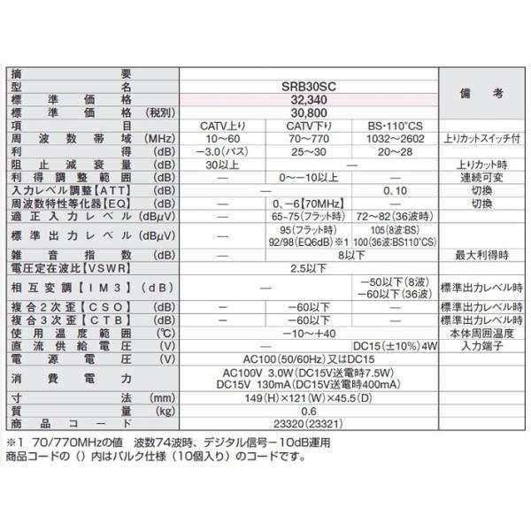 日本アンテナ 双方向CATV・BS/CSブースター 下り増幅型(30dB) SRB30SC BS・CSブースター バルク|shins|03