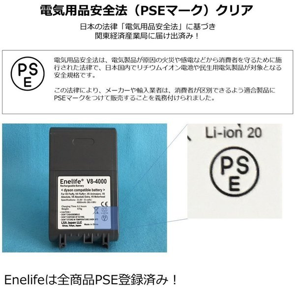 ダイソン 【V10シリーズ】 互換バッテリー V10-2600SP 純正と同じ Molicel社 セル dyson V10シリーズ Enelife Batteries v10 SV12 互換 バッテリー PSE|shins|15