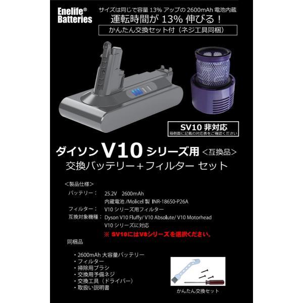 ダイソン 【V10シリーズ】 互換バッテリー V10-2600SP 純正と同じ Molicel社 セル dyson V10シリーズ Enelife Batteries v10 SV12 互換 バッテリー PSE|shins|04