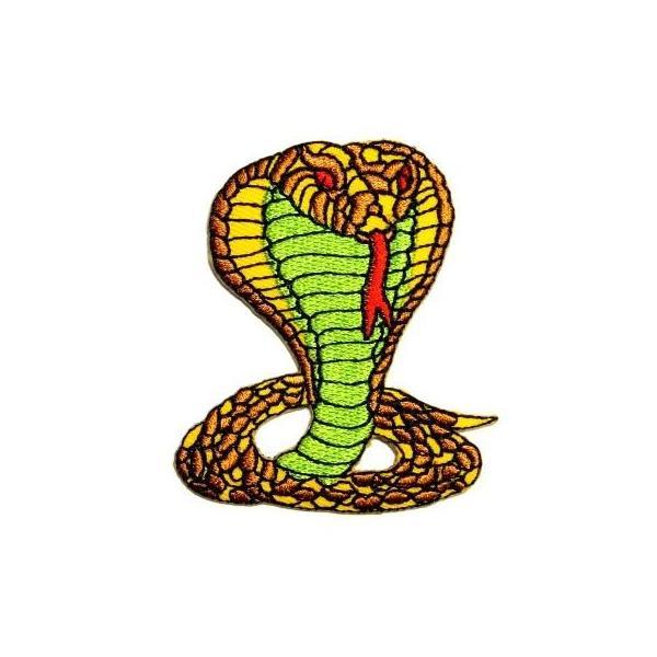 アイロンワッペン ワッペン 動物・魚・生き物ワッペン 刺繍ワッペン コブラ 蛇 アイロンで貼れるワッペン