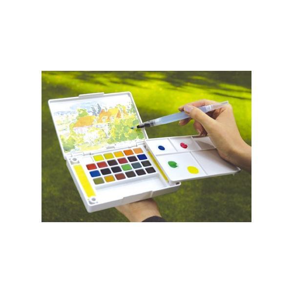 【在庫あり】サクラクレパス 透明固形水彩絵の具 プチカラー水筆入り 24色セット NCW-24H|shinsen-b0919|03