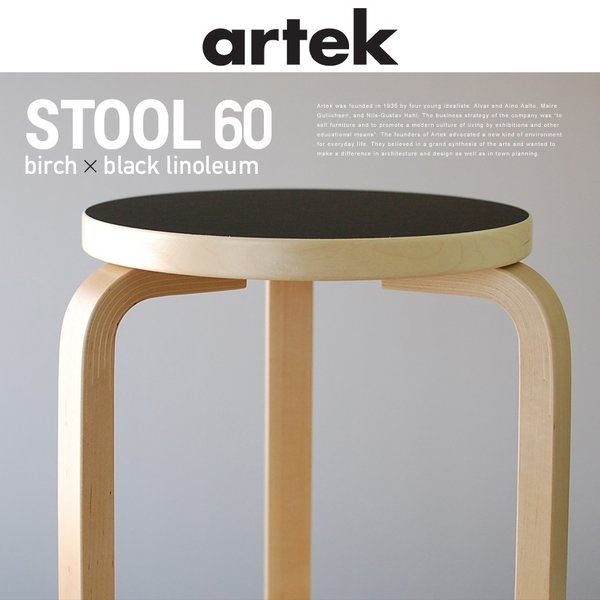 Peachy Artek Aalto Birch Stool60 3 Black 60 Creativecarmelina Interior Chair Design Creativecarmelinacom