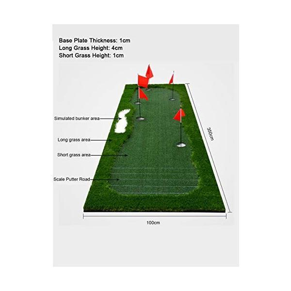 ゴルフパットマット、パッティンググリーン、ポータブルプラクティスマット、屋内/屋外ゴルフマット、トレーニング援助装置 - 100x350cm (色|shinydoll-store|01
