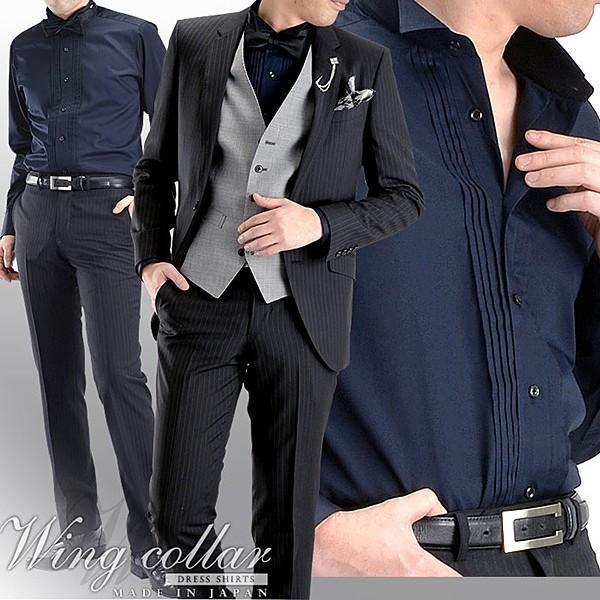 日本製 綿100% ウイングカラー ピンタックメンズドレスシャツ オセロ切替   ワイシャツ 長袖 フォーマル パーティー タキシード|shirt-style|04