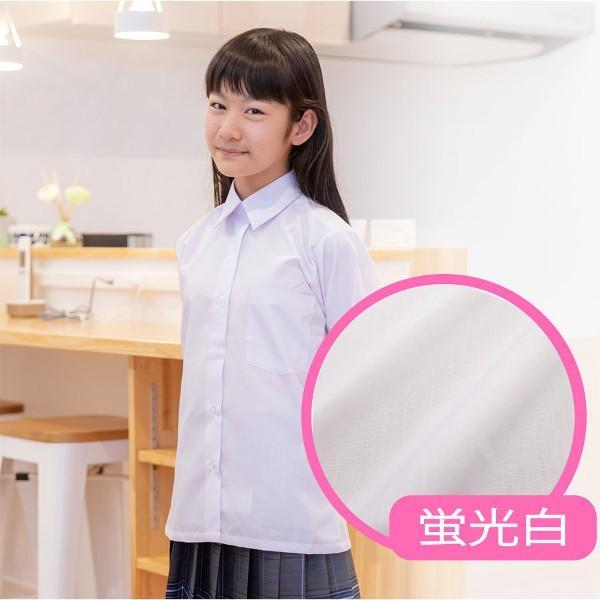 スクールシャツ 半袖 女子 学生服 1000円クーポン対象 蛍光白 防汚加工 形態安定|shirts-mart|02