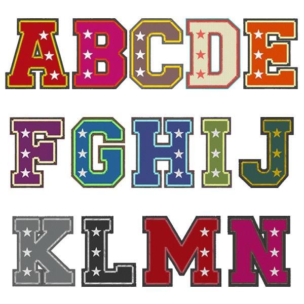 ベルベットカレッジスター 8cm ふち刺繍オーダー アルファベット アイロン接着ワッペン/スタジャン、パーカー、トレーナーに|shishuatelier|05