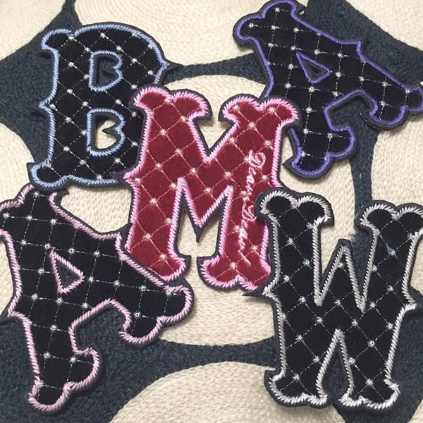 ヴィクトリアンBB 名入れ ベルベット ふち刺繍オーダー アルファベット アイロン接着ワッペン/スタジャン、パーカー、トレーナーに|shishuatelier|06
