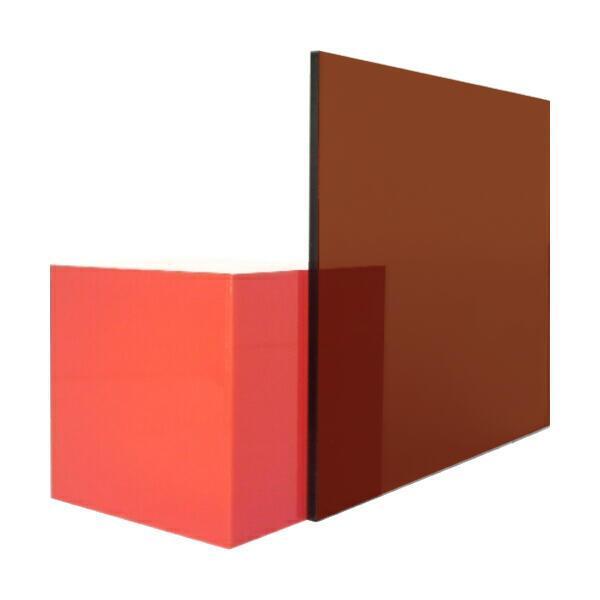 日本製 アクリル板 ブラウンスモーク(押出板) 厚み2mm 600X600mm 縮小カット1枚無料 カンナ・糸面取り仕上(エッジで手を切る事はなし)