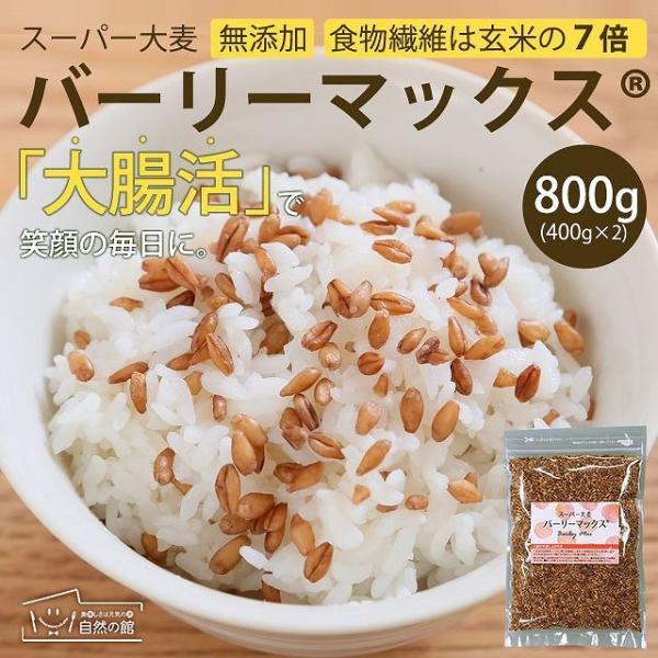 送料無料 雑穀 スーパー大麦 バーリーマックス ヘルシー 大麦 バーリーマックス 800g(400g×2) ダイエット 無添加 糖質 オフ 大腸活 食物繊維|shizennoyakata
