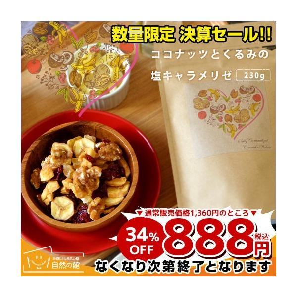 ミックスナッツ スイーツ 送料無料 ココナッツとくるみの塩キャラメリゼ 230g アーモンド ココナッツ くるみ クランベリー バナナ りんご おやつ|shizennoyakata