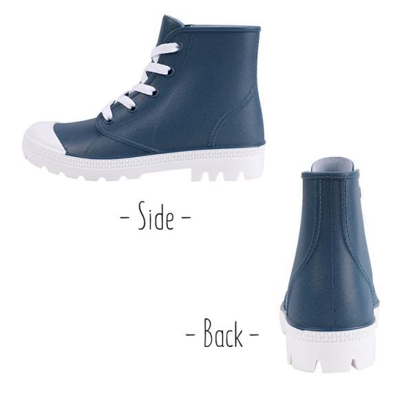 レインブーツ 長靴 レインシューズ スニーカー レディース ショート ネイビー 白 靴紐 おしゃれ  軽量 滑り止め  防水 雨晴兼用|shizenshop|06
