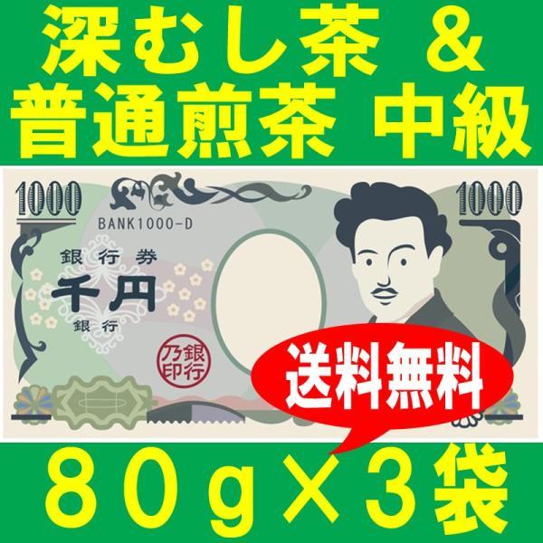 深むし茶80g×2袋&普通煎茶 中級80g×1袋 静岡茶 送料無料 お試し ポッキリ shizuoka-cha