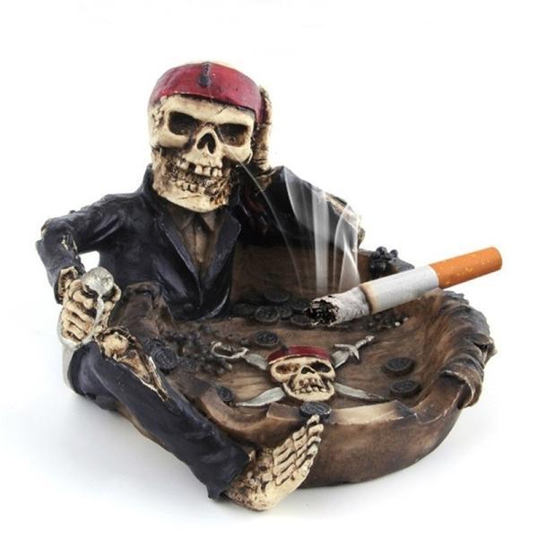 灰皿 おしゃれ アンティーク ヴィンテージ レトロ 骸骨 スカル 海賊 お洒落 タバコ|sho-bai|02