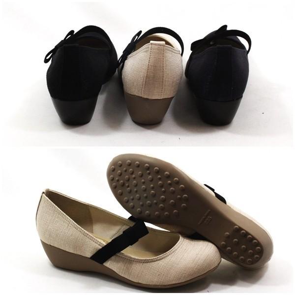 メタルルージュ リボン ゴムストラップ パンプス ウェッジ ラウンドトゥ 靴 レディース 1185-100-610-800|shobido|03