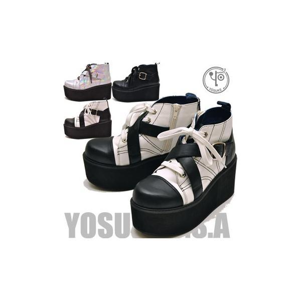 YOSUKE U.S.A ヨースケ 厚底ブーツ  レディース ショート 編み上げブーツ ※(予約)は3営業日内に発送