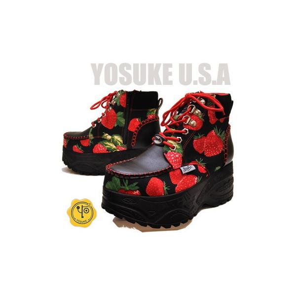 YOSUKE ヨースケ 靴 いちご柄厚底スニーカー ハイカット レディース ※(予約)は3営業日内に発送