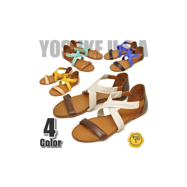 YOSUKE U.S.A ヨースケ 本革 サンダル オープントゥ サンダル ぺたんこサンダルフラットソール コンフォートサンダル レディース 靴