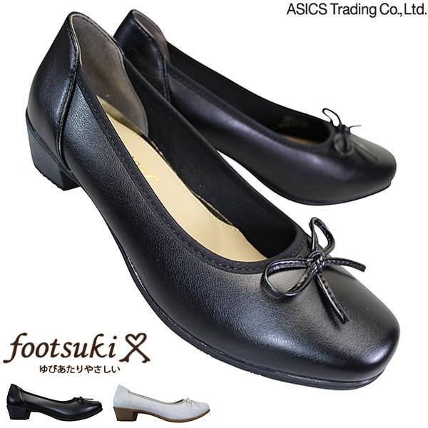 asics trading アシックス商事 フットスキ FS-16300 ブラック・シルバー FOOTSUKI 3E相当 パンプス 3.5cmヒール バレエシューズ リボンパンプス
