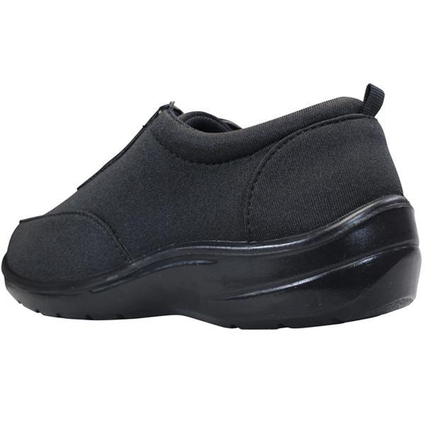 レディース カジュアルシューズ KB.STYLE N124 ブラック ファスナー付きスニーカー 幅広 軽量 お買い得 作業靴|shoeparkkaminari|04