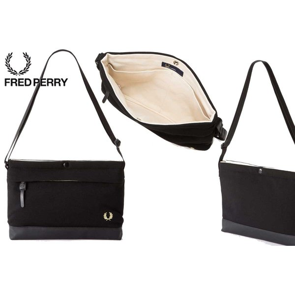 FRED PERRY フレッドペリー Pique Sacoche Bag  F9543 07(ブラック)