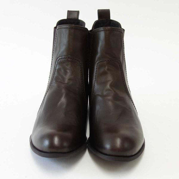 HIPS ヒップス 219001 ダークブラウン(レディース) 天然皮革のサイドゴアブーツ(日本製)