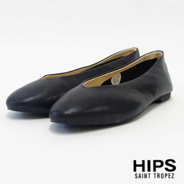 HIPS ヒップス 257050 ブラック レディース レザーフラットシューズ