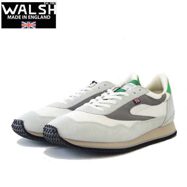 WALSH ウォルシュ ENC71005(ユニセックス) Ensign Classic カラー:ホワイト/グレー/グリーン(英国製)  スエード&ナイロンのランニングスニーカー|shoes-sinagawa