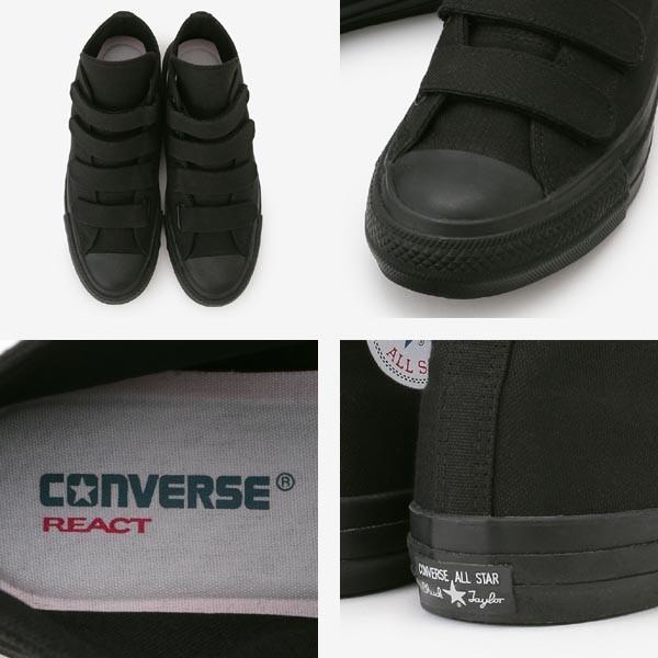 コンバース スニーカー レディース メンズ ハイカット オールスター 100 V4 ブラック 黒 ホワイト 白 ベルクロ キャンバス converse ALLSTAR V4 HI