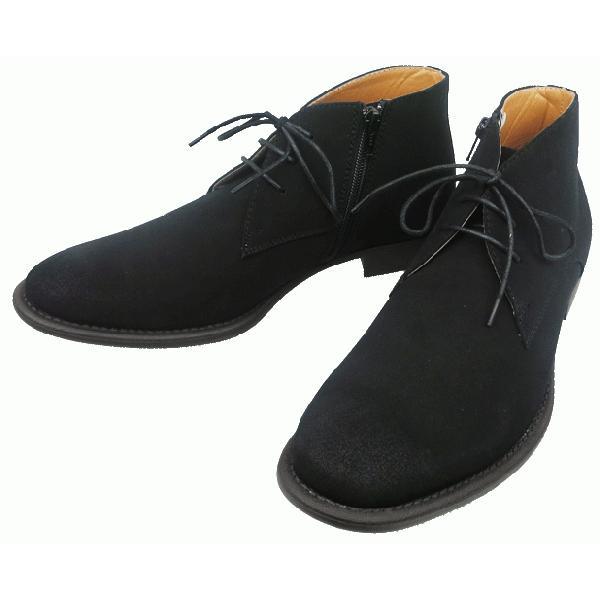 ブーツ メンズ 黒 ブーツ ショート アシックス 合皮 黒|shoesclubc