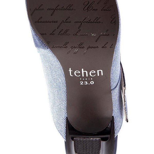 ミュール サンダル ヒール 痛くない 歩きやすい 疲れにくい レディース テーン tehen TN1718 ブルー/コンビ