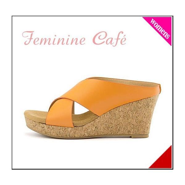 ミュール サンダル ウェッジソール レディース 美脚 フェミニンカフェ Feminine Cafe 11181 オレンジ